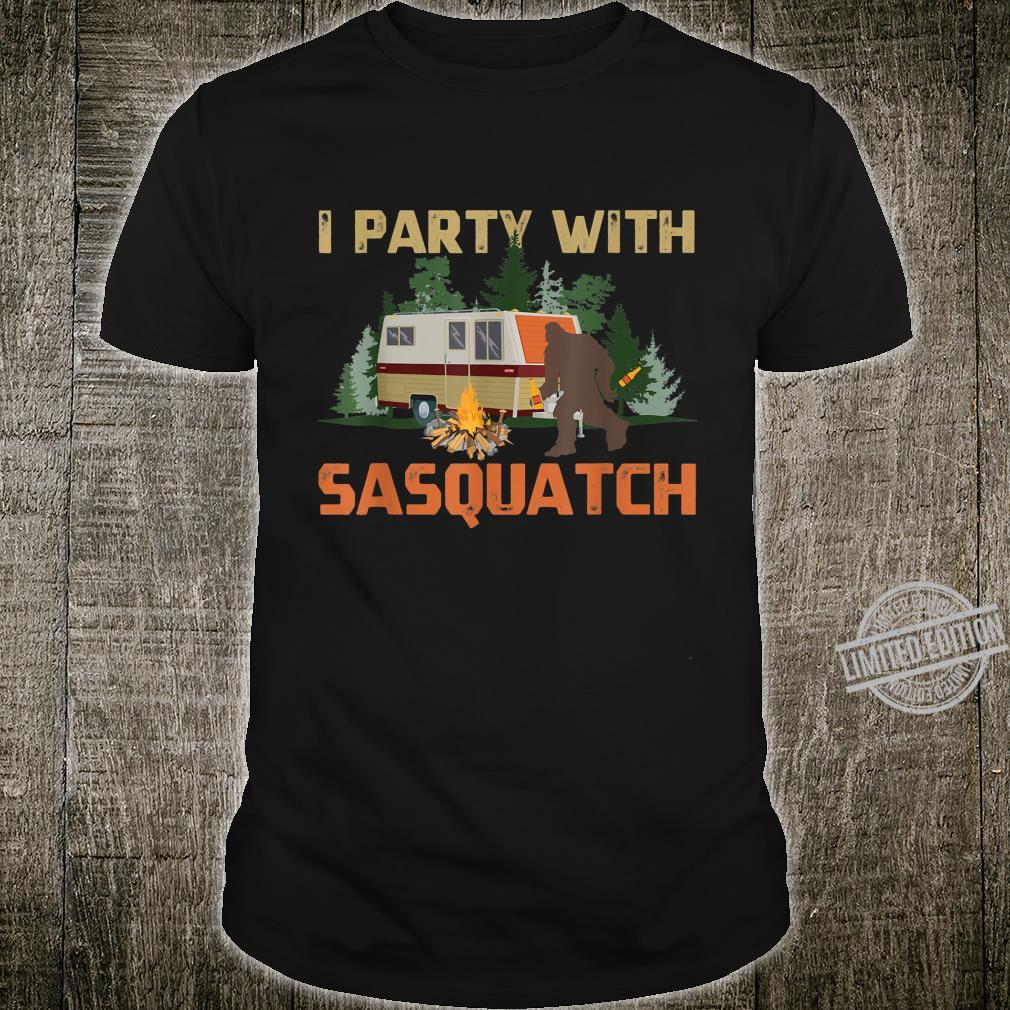 I Party With Sasquatch Bigfoot Camping Vintage Camper Shirt