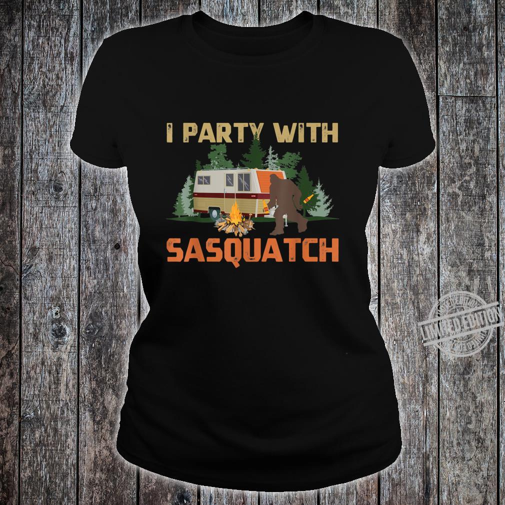 I Party With Sasquatch Bigfoot Camping Vintage Camper Shirt ladies tee