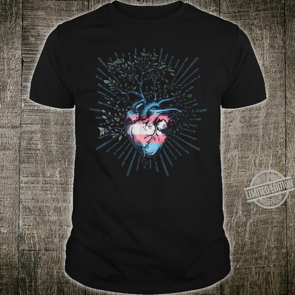 Transgender Heart Tree of Life LGBT with Trans Flag Shirt